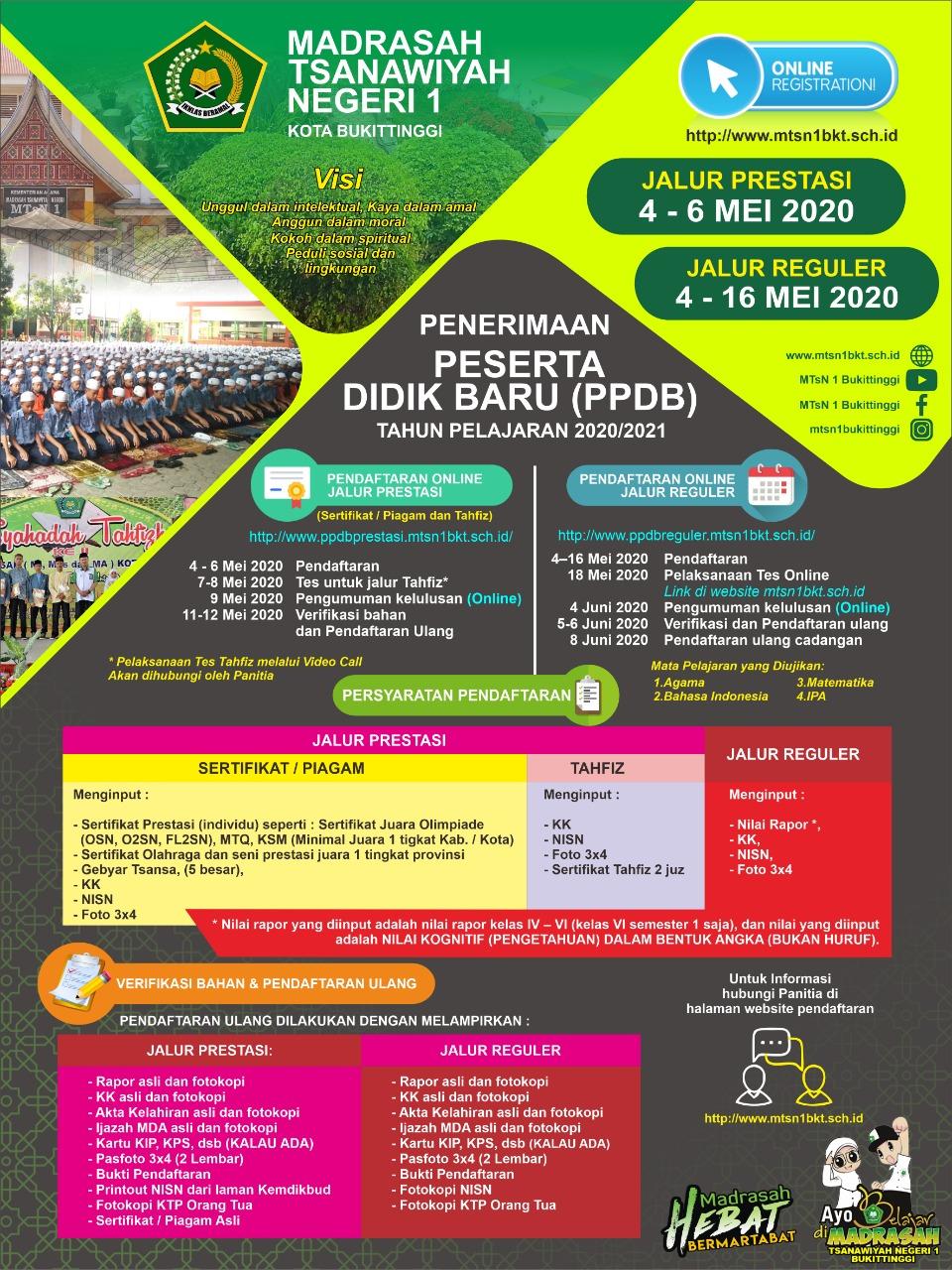 Brosur PPDB MTsN 1 Bukittinggi Tahun Pelajaran 2020/2021